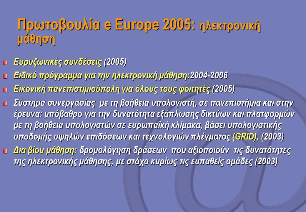 Πρωτοβουλία e Europe 2005: ηλεκτρονική μάθηση