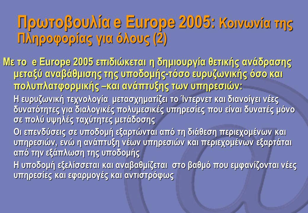 Πρωτοβουλία e Europe 2005: Κοινωνία της Πληροφορίας για όλους (2)