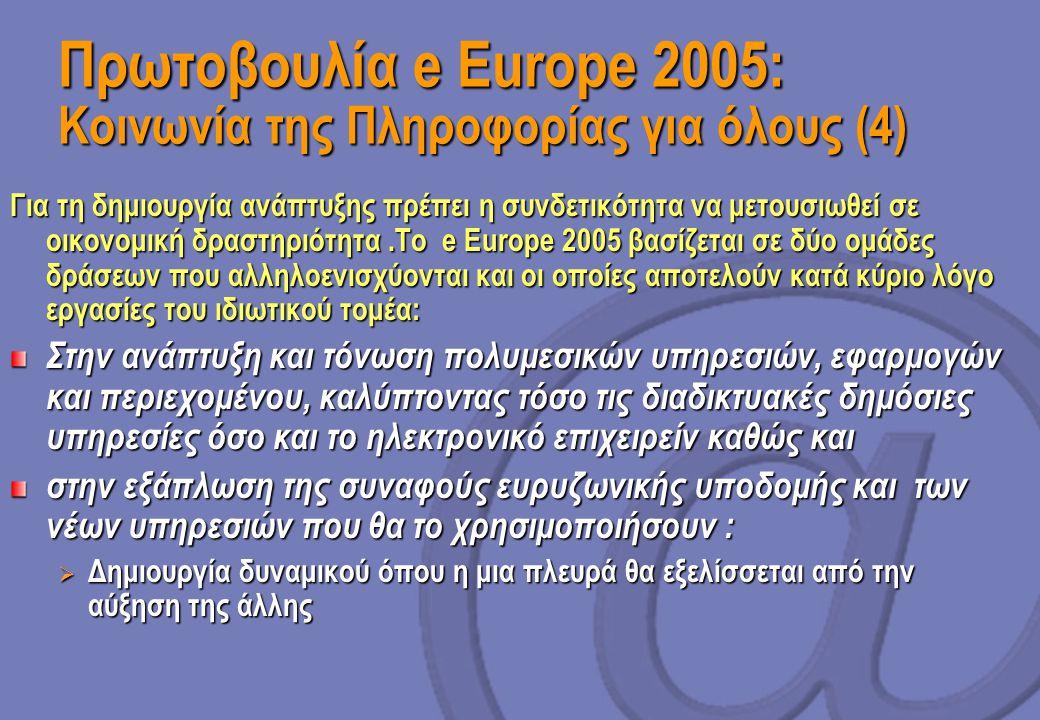 Πρωτοβουλία e Europe 2005: Κοινωνία της Πληροφορίας για όλους (4)