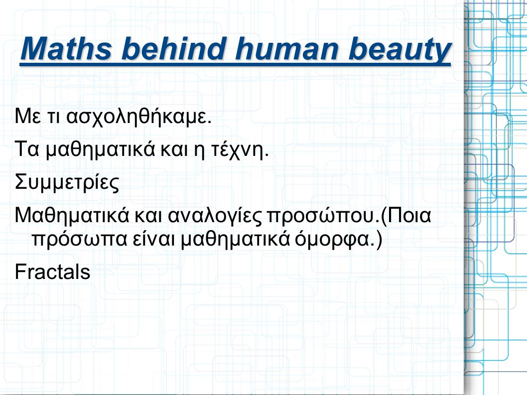 Maths behind human beauty