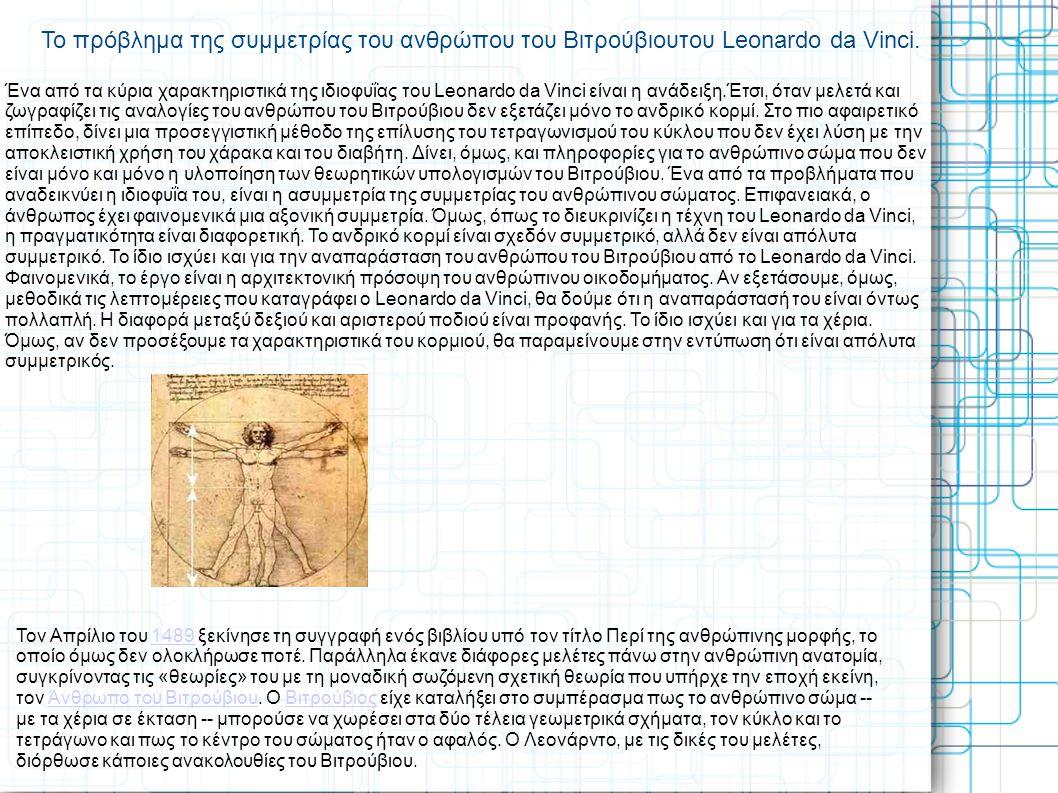 Το πρόβλημα της συμμετρίας του ανθρώπου του Βιτρούβιουτου Leonardo da Vinci.