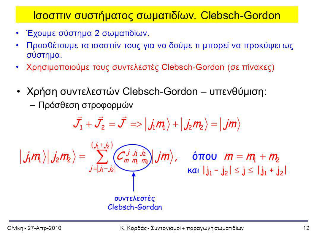 Ισοσπιν συστήματος σωματιδίων. Clebsch-Gordon