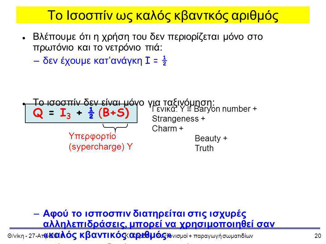 Το Ισοσπίν ως καλός κβαντκός αριθμός