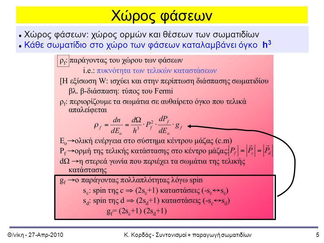 Κ. Κορδάς - Συντονισμοί + παραγωγή σωματιδίων