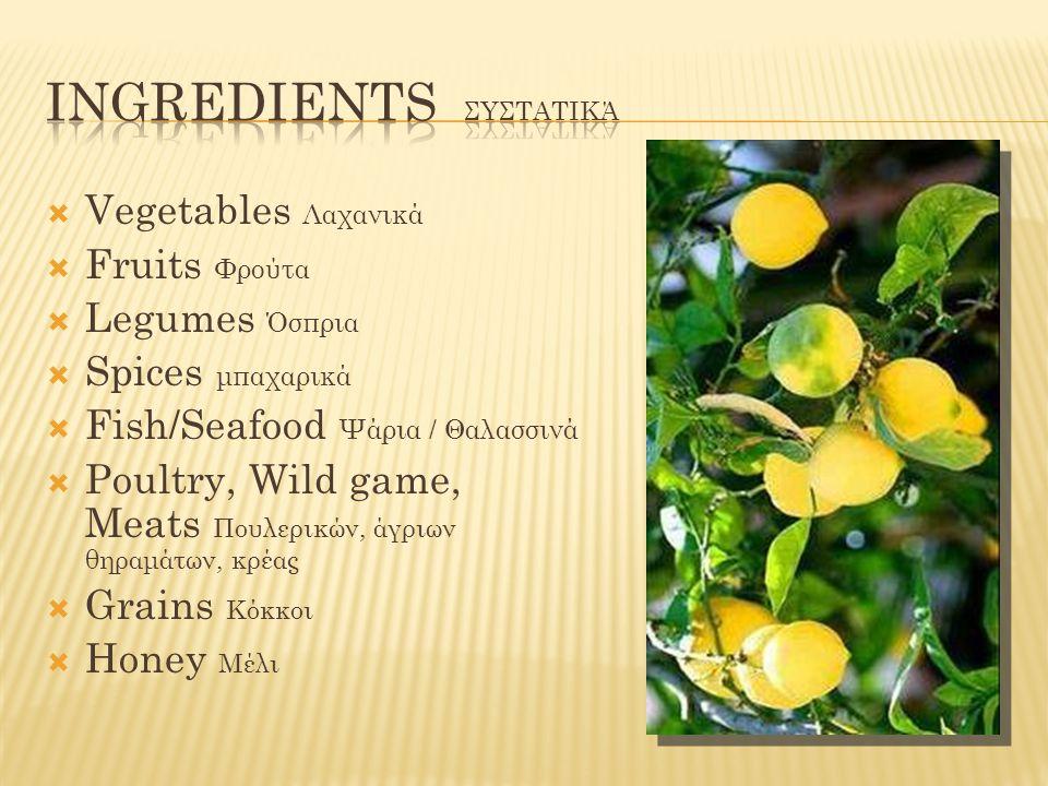 Ingredients Συστατικά