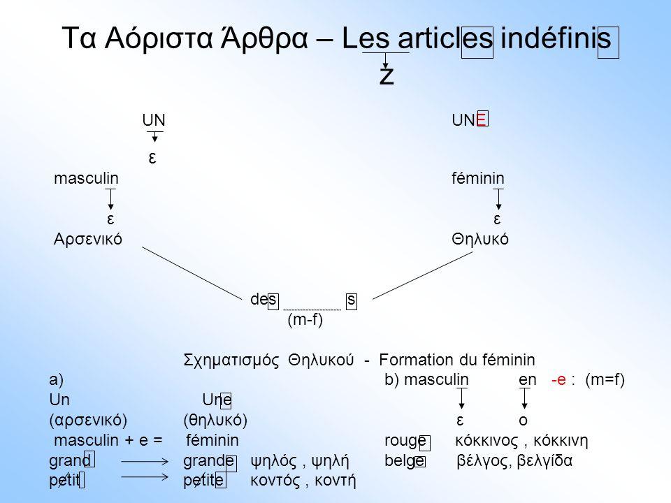 Τα Αόριστα Άρθρα – Les articles indéfinis z