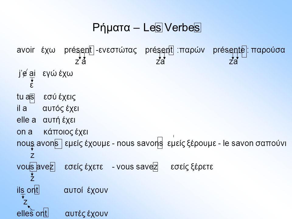 Ρήματα – Les Verbes