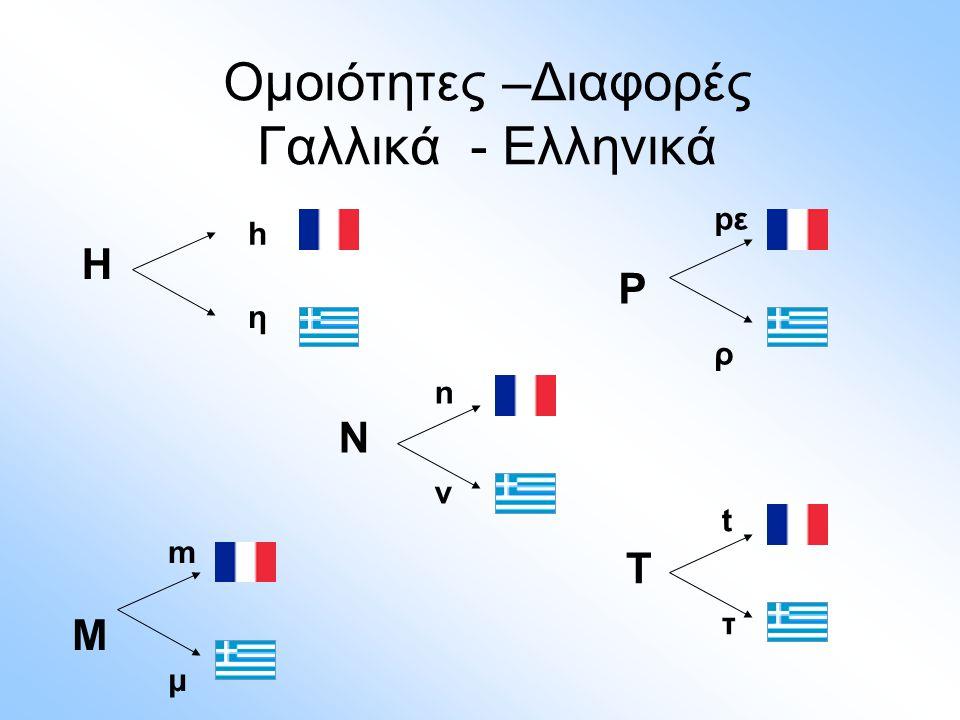 Ομοιότητες –Διαφορές Γαλλικά - Ελληνικά