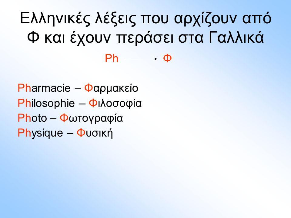 Ελληνικές λέξεις που αρχίζουν από Φ και έχουν περάσει στα Γαλλικά