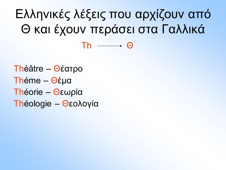 Ελληνικές λέξεις που αρχίζουν από Θ και έχουν περάσει στα Γαλλικά