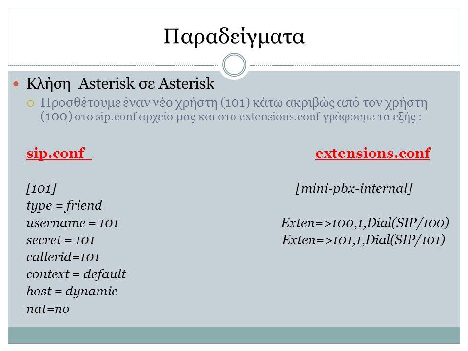 Παραδείγματα Κλήση Asterisk σε Asterisk sip.conf extensions.conf