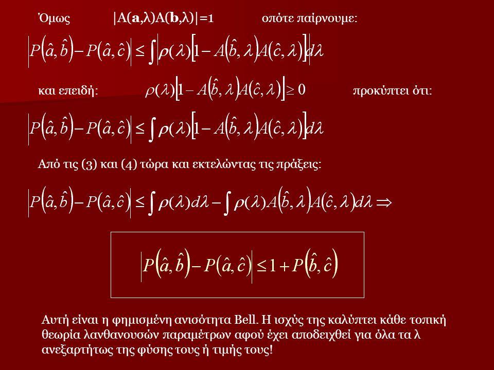 Όμως |Α(a,λ)Α(b,λ)|=1 οπότε παίρνουμε: