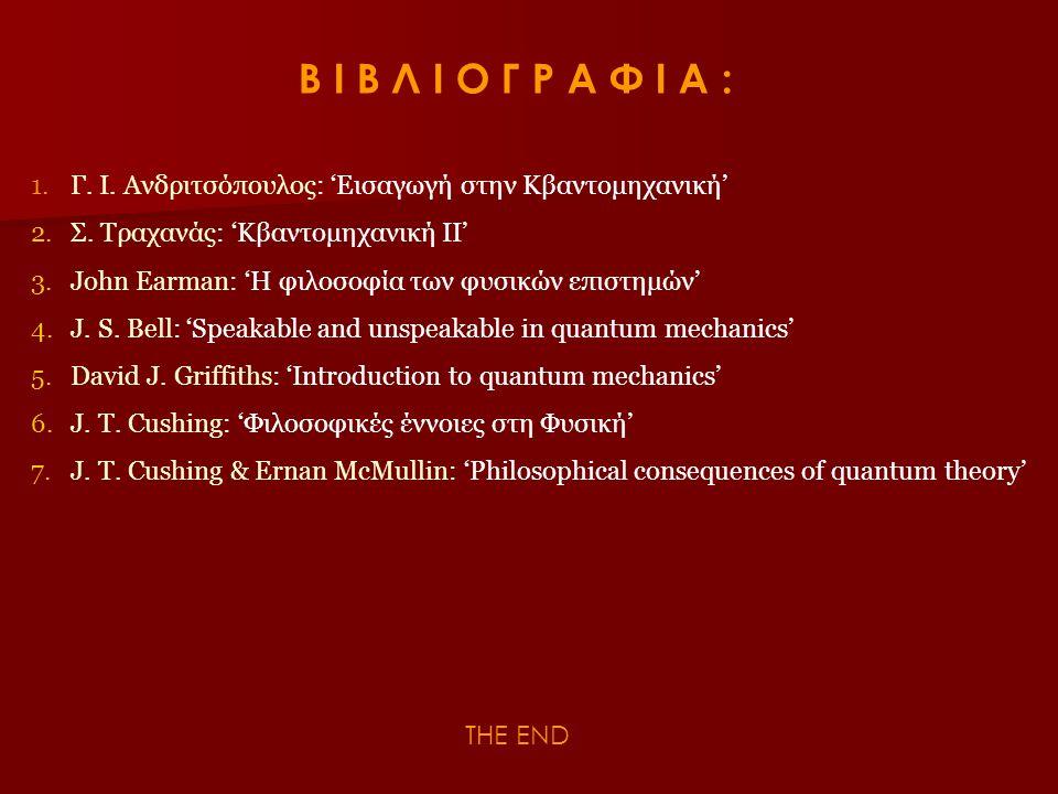 Β Ι Β Λ Ι Ο Γ Ρ Α Φ Ι Α : 1. Γ. Ι. Ανδριτσόπουλος: 'Εισαγωγή στην Κβαντομηχανική' 2. Σ. Τραχανάς: 'Κβαντομηχανική ΙΙ'