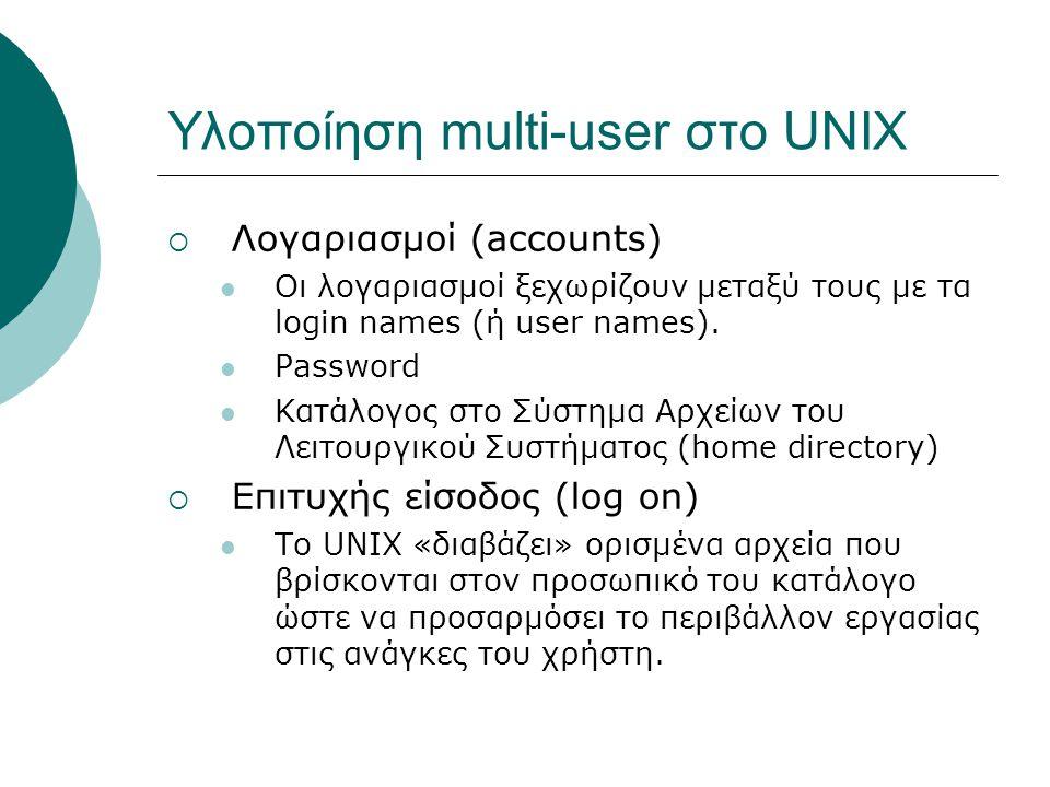 Υλοποίηση multi-user στο UNIX