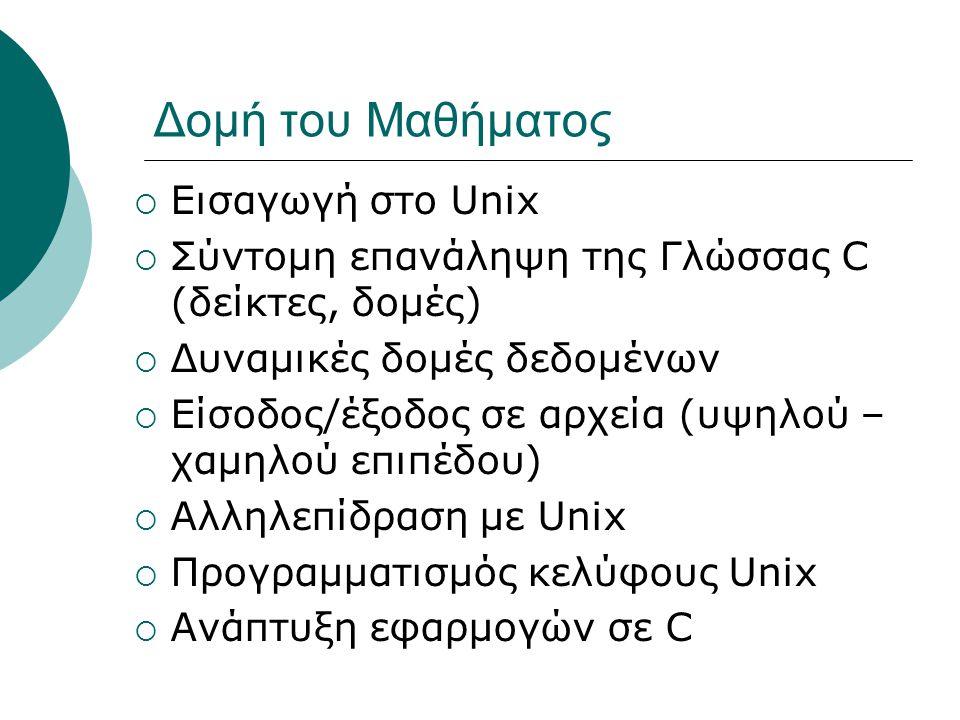 Δομή του Μαθήματος Εισαγωγή στο Unix