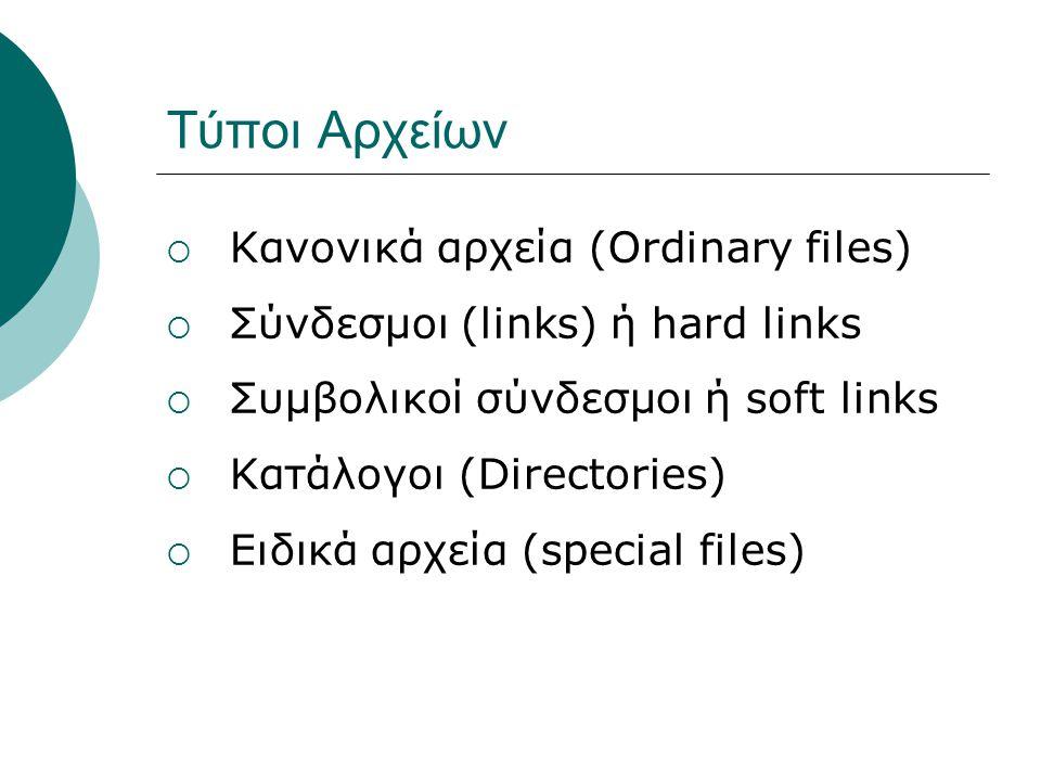 Τύποι Αρχείων Κανονικά αρχεία (Ordinary files)