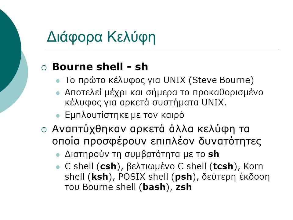 Διάφορα Κελύφη Bourne shell - sh
