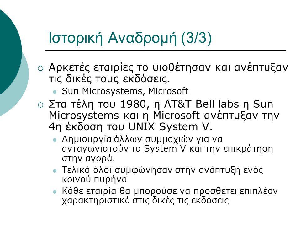 Ιστορική Αναδρομή (3/3) Αρκετές εταιρίες το υιοθέτησαν και ανέπτυξαν τις δικές τους εκδόσεις. Sun Microsystems, Microsoft.