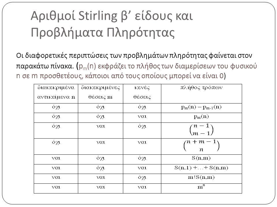Αριθμοί Stirling β' είδους και Προβλήματα Πληρότητας