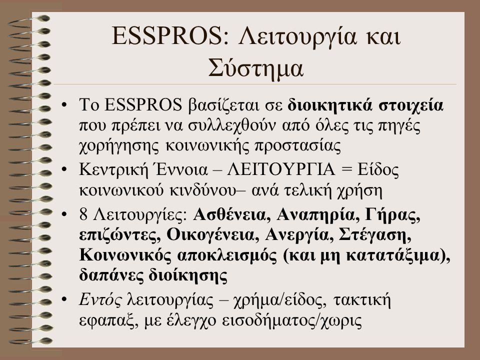 ESSPROS: Λειτουργία και Σύστημα