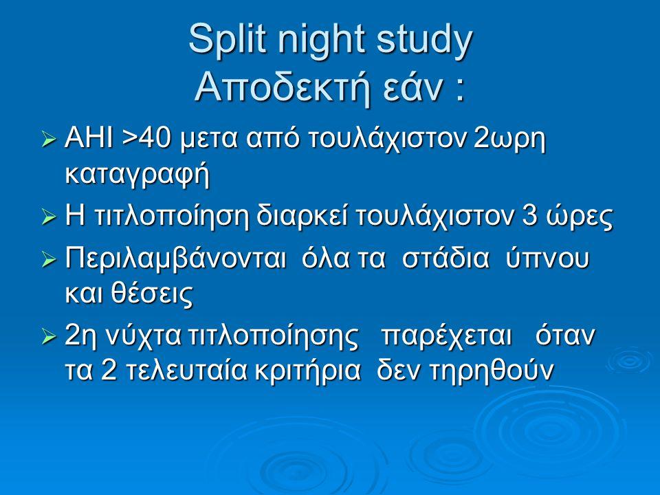 Split night study Αποδεκτή εάν :