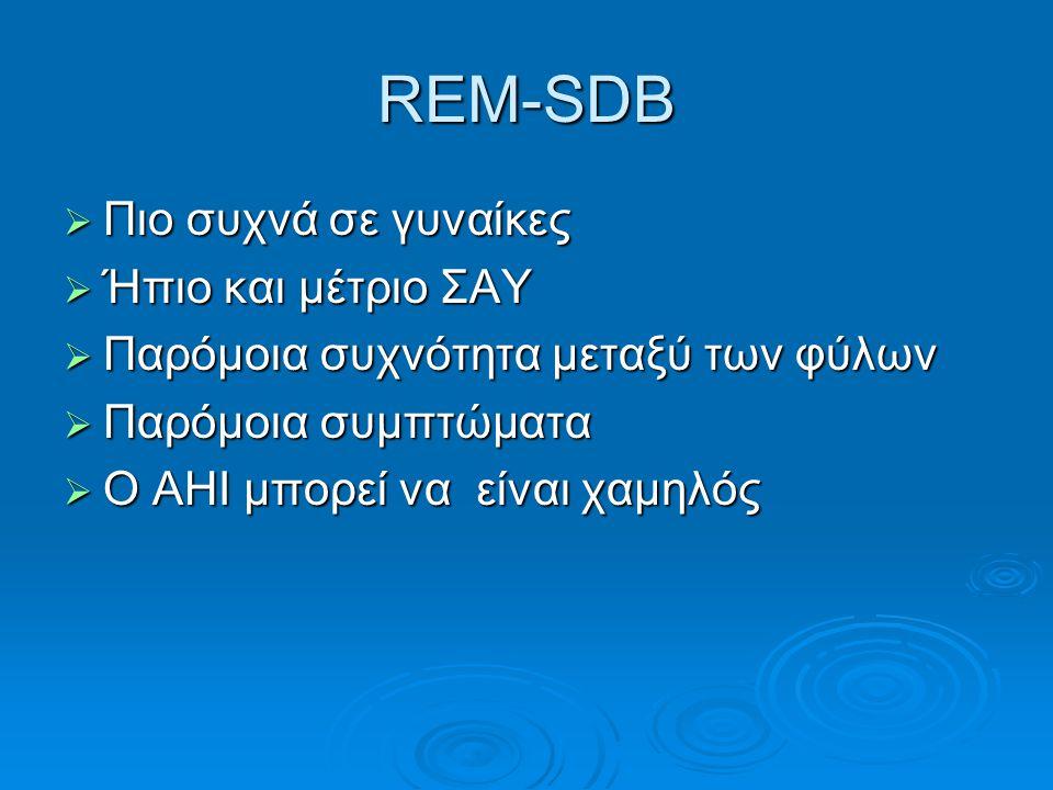 REM-SDB Πιο συχνά σε γυναίκες Ήπιο και μέτριο ΣΑΥ