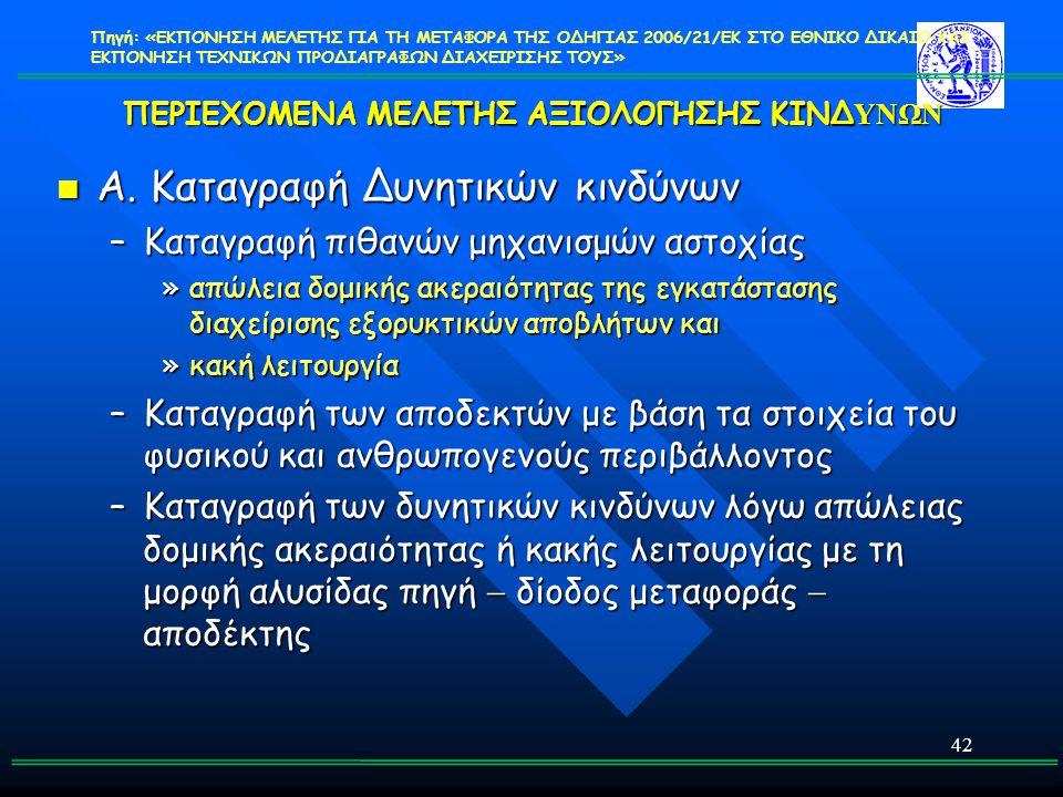 ΠΕΡΙΕΧΟΜΕΝΑ ΜΕΛΕΤΗΣ ΑΞΙΟΛΟΓΗΣΗΣ ΚΙΝΔΥΝΩΝ