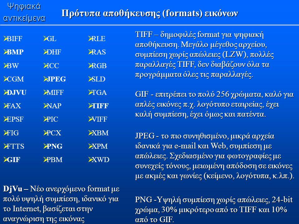 Πρότυπα αποθήκευσης (formats) εικόνων