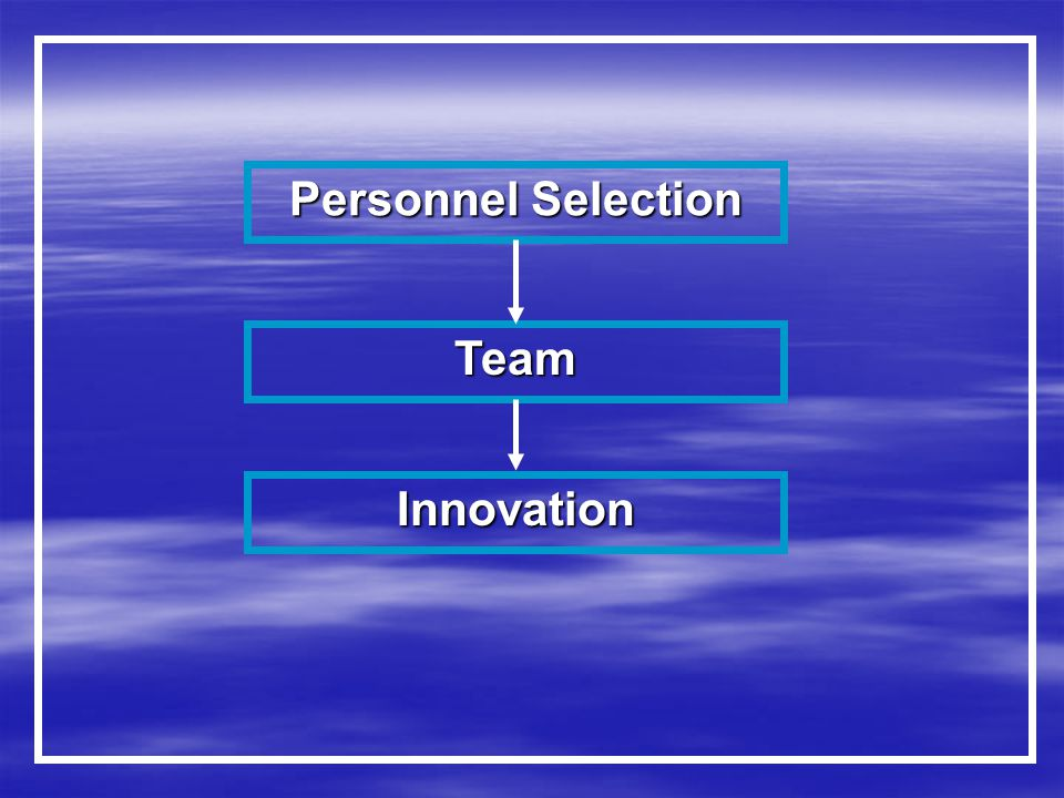 Personnel Selection Team Innovation