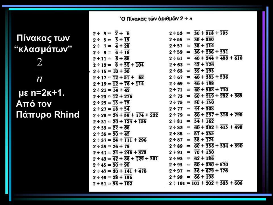 Πίνακας των κλασμάτων με n=2κ+1. Από τον Πάπυρο Rhind