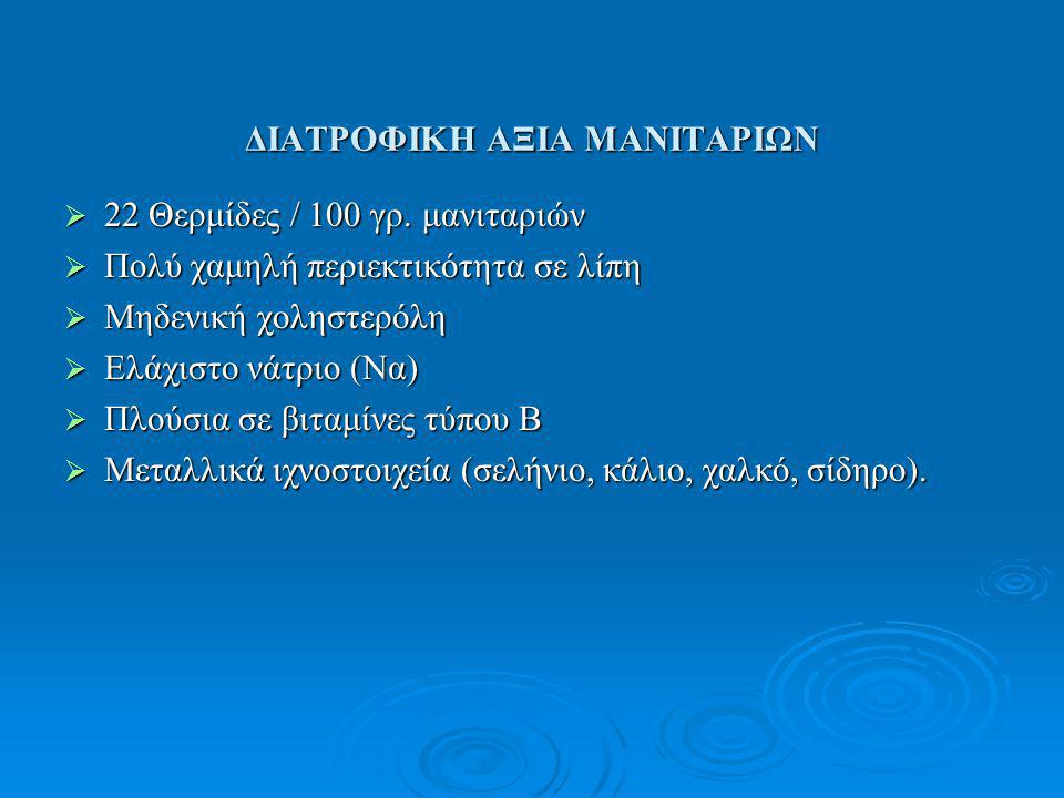 ΔΙΑΤΡΟΦΙΚΗ ΑΞΙΑ ΜΑΝΙΤΑΡΙΩΝ