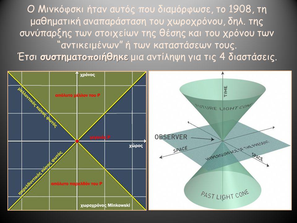 Ο Μινκόφσκι ήταν αυτός που διαμόρφωσε, το 1908, τη