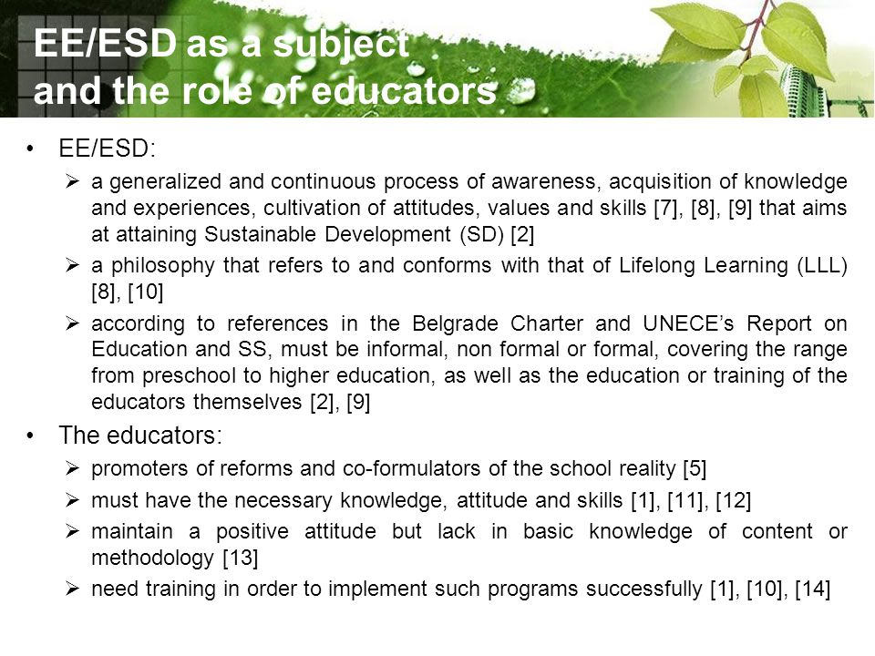 EE/ESD as a subject and the role of educators