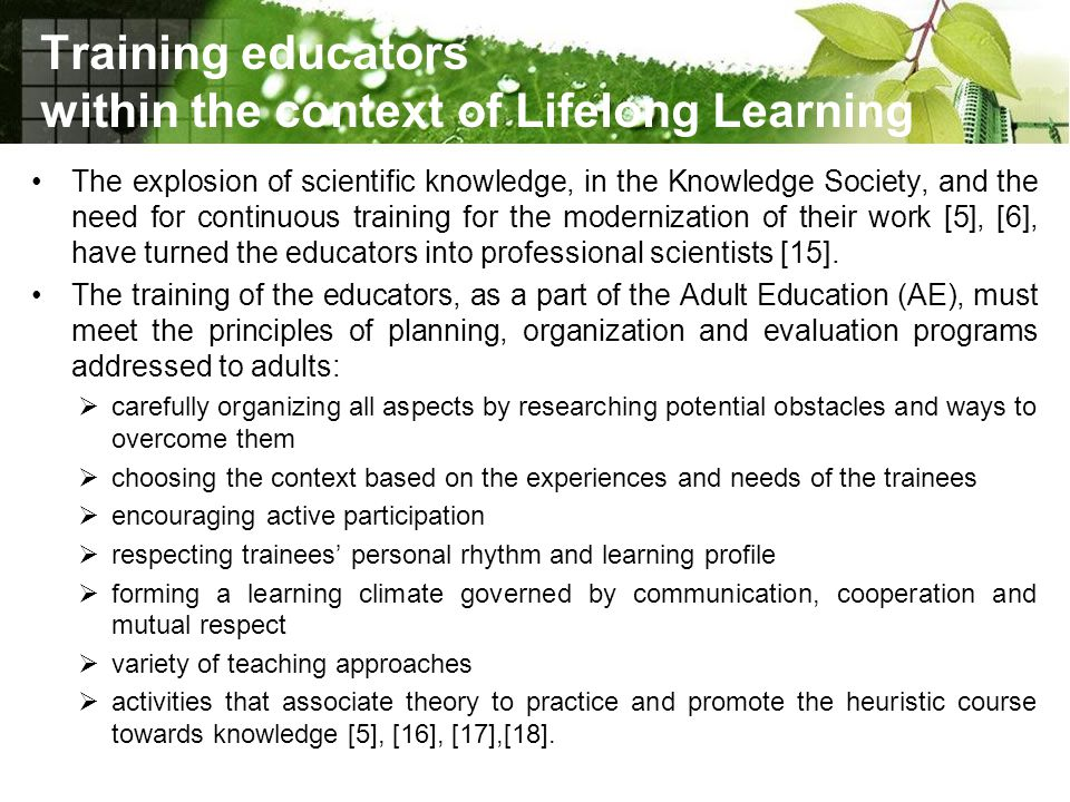 Training educators within the context of Lifelong Learning