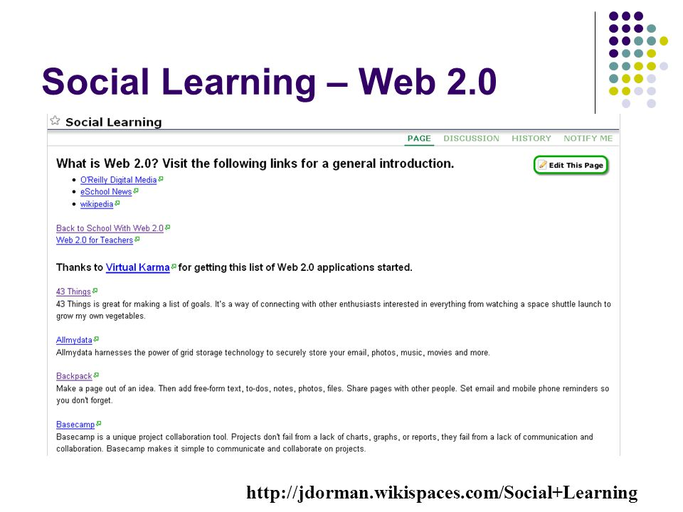 Social Learning – Web 2.0 http://jdorman.wikispaces.com/Social+Learning.