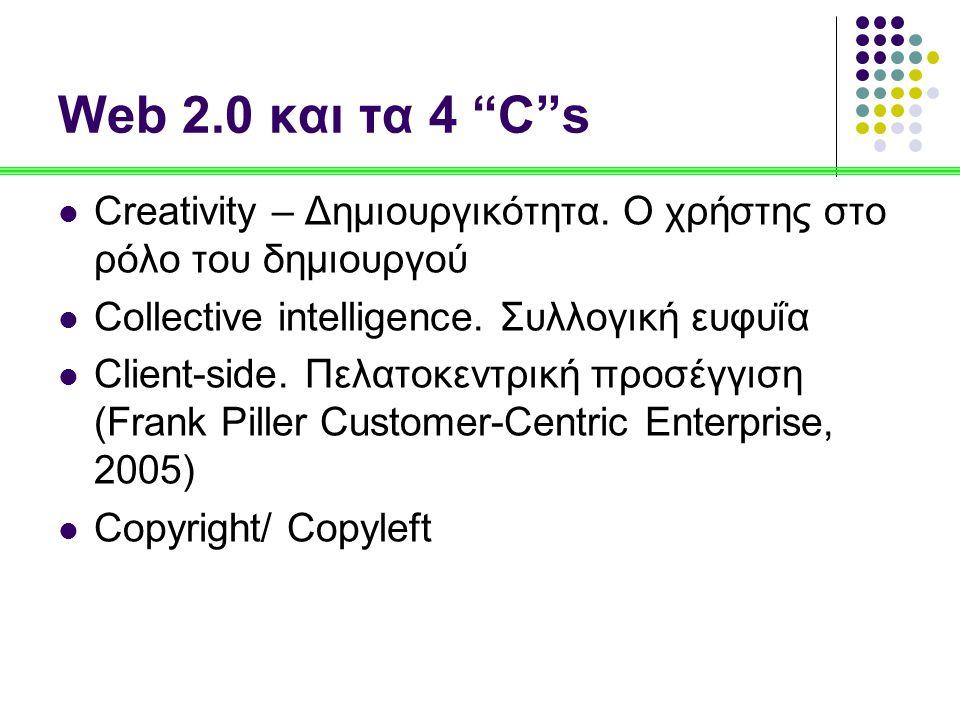 Web 2.0 και τα 4 C s Creativity – Δημιουργικότητα. Ο χρήστης στο ρόλο του δημιουργού. Collective intelligence. Συλλογική ευφυΐα.