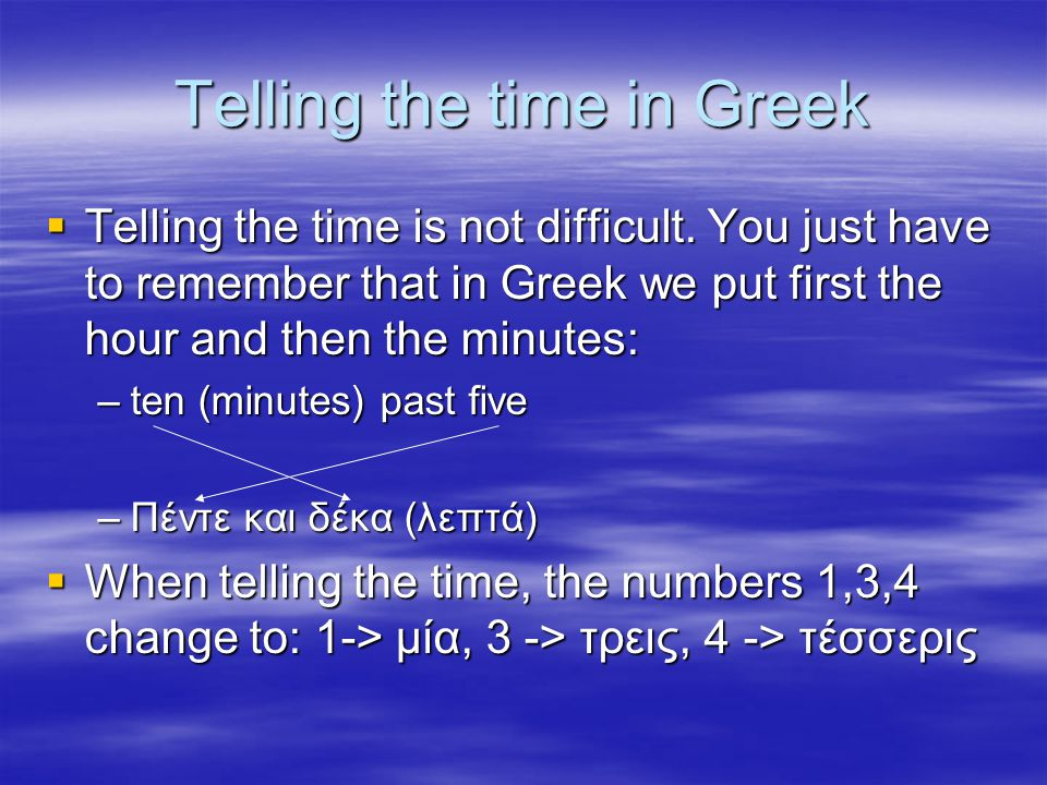 Telling the time in Greek