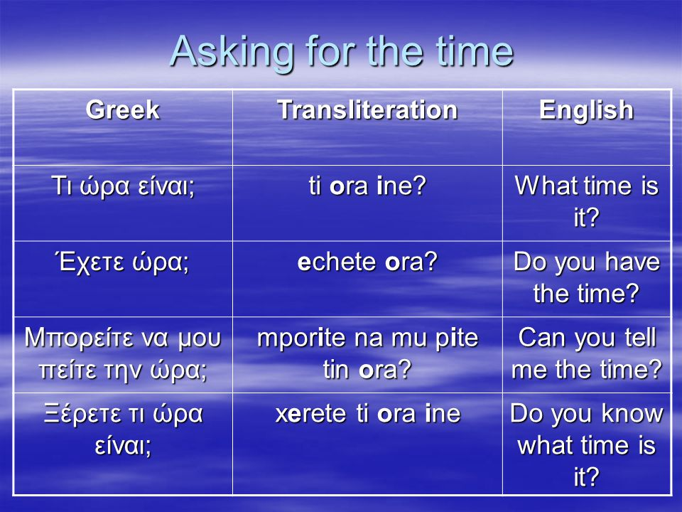 Asking for the time Greek Transliteration English Τι ώρα είναι;
