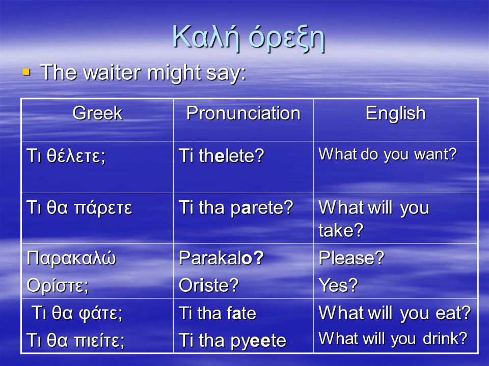 Καλή όρεξη The waiter might say: Greek Pronunciation English