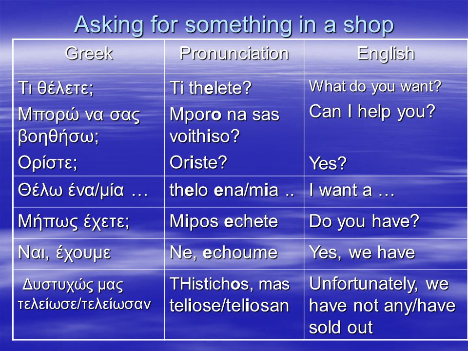 Asking for something in a shop