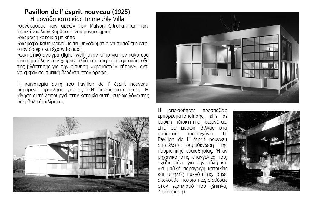 Pavillon de l' ésprit nouveau (1925) Η μονάδα κατοικίας Immeuble Villa