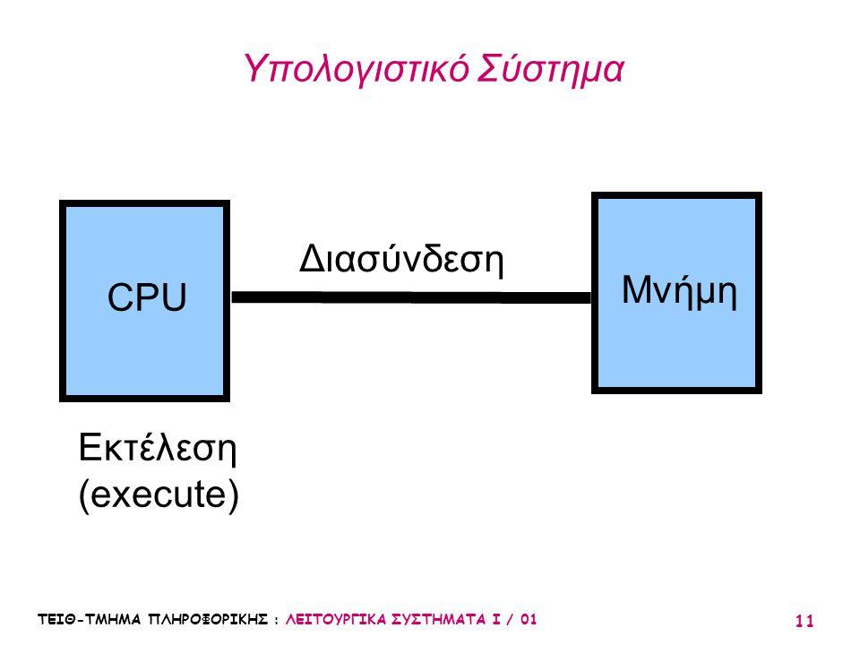 Υπολογιστικό Σύστημα Διασύνδεση Μνήμη CPU Εκτέλεση (execute)