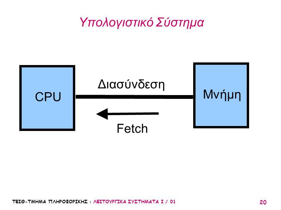 Υπολογιστικό Σύστημα Διασύνδεση Μνήμη CPU Fetch