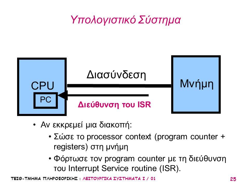 Υπολογιστικό Σύστημα Διασύνδεση Μνήμη CPU PC Διεύθυνση του ISR