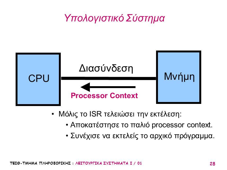 Υπολογιστικό Σύστημα Διασύνδεση Μνήμη CPU Processor Context