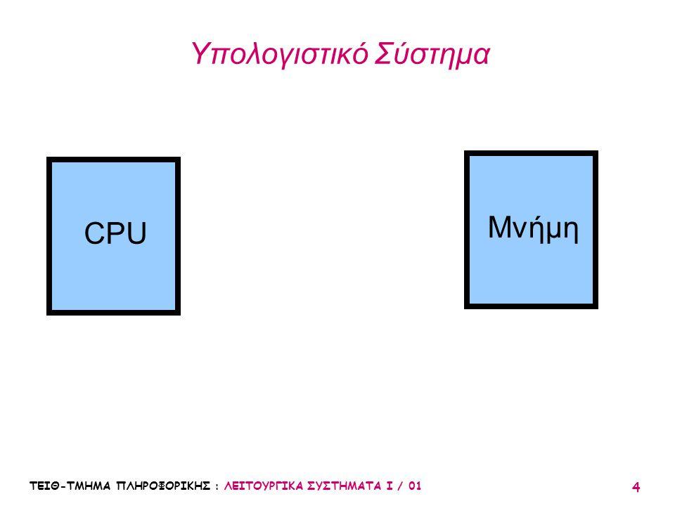 Υπολογιστικό Σύστημα Μνήμη CPU