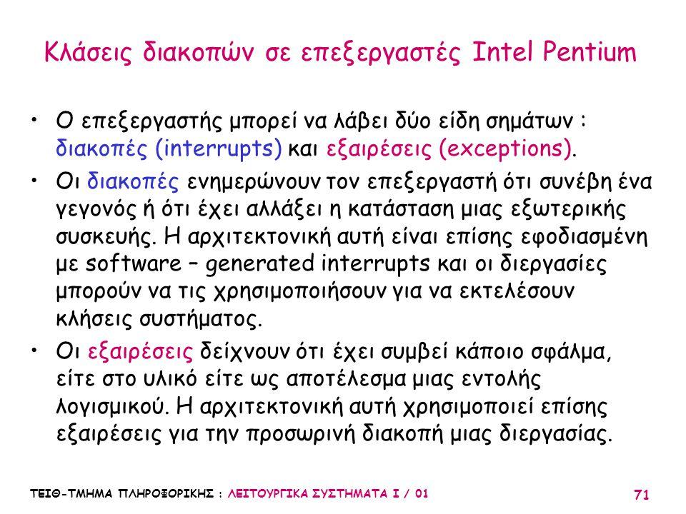 Κλάσεις διακοπών σε επεξεργαστές Intel Pentium