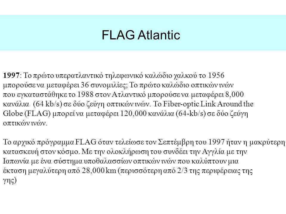 FLAG Atlantic 1997: Το πρώτο υπερατλαντικό τηλεφωνικό καλώδιο χαλκού το 1956. μπορούσε να μεταφέρει 36 συνομιλίες; Το πρώτο καλώδιο οπτικών ινών.