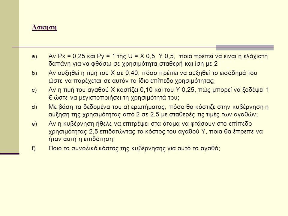 Άσκηση Αν Px = 0,25 και Py = 1 της U = X 0,5 Y 0,5, ποια πρέπει να είναι η ελάχιστη δαπάνη για να φθάσω σε χρησιμότητα σταθερή και ίση με 2.