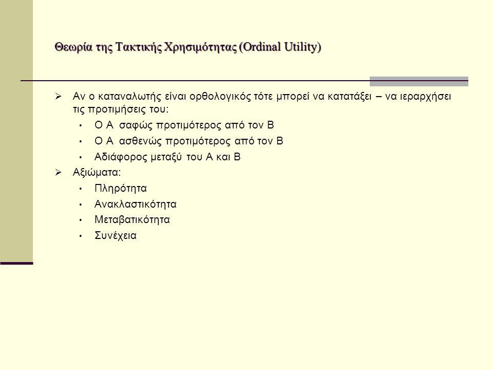 Θεωρία της Τακτικής Χρησιμότητας (Ordinal Utility)